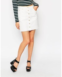 Asos Collection Denim Dolly A Line Button Through Mini Skirt In White With Raw Hem