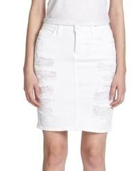 Current/Elliott Distressed Denim Pencil Skirt