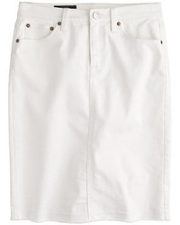 J.Crew Frayed Denim Pencil Skirt In White