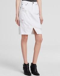 Rag and Bone Rag Bonejean Skirt Denim In Shredded White