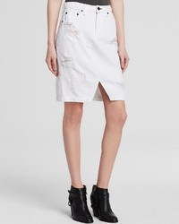 Rag and Bone Rag Bonejean Skirt Denim In Shredded White