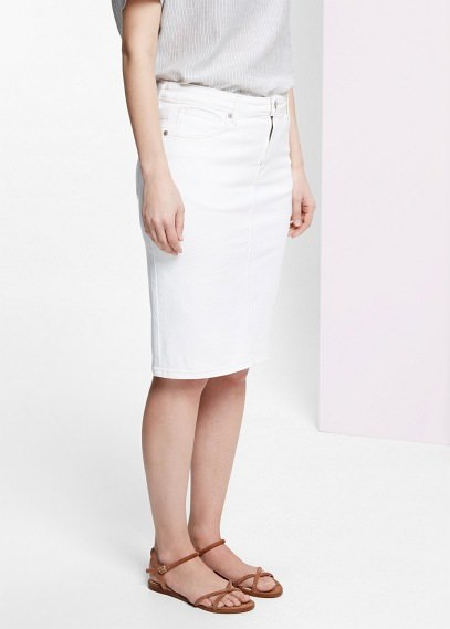 Violeta BY MANGO White Denim Skirt | Where to buy & how to wear
