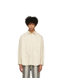Kuro Off White Denim Switched Panel Shirt
