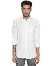 Stained light cotton linen denim shirt medium 1033426