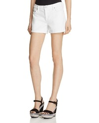 Hudson Asha Cuffed Denim Shorts In White