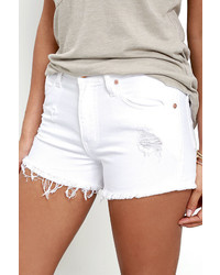 Best For Fest White Distressed Denim Shorts