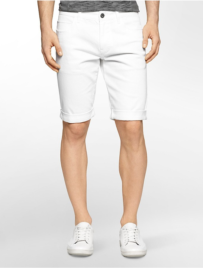 Calvin Klein Classic Fit White Wash Jean Shorts | Where to buy ...