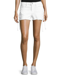 Frame Denim Le Cutoff Lace Up Denim Shorts Blanc