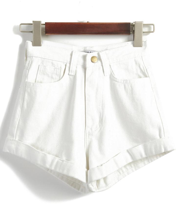123c93b29619e0 High Waist Loose Denim Blue Shorts, $35   Romwe   Lookastic.com