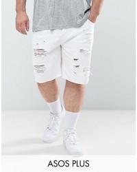 Plus slim denim shorts in white with rips medium 4419397