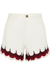 Chloé Scalloped Embroidered Denim Shorts White