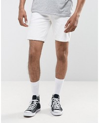 Pull&Bear Stretch Denim Shorts In White