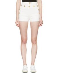 Balmain White Denim Button Mini Shorts