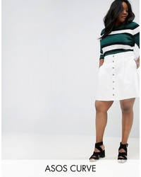 Asos Curve Curve Denim Button Through Skater Skirt In White