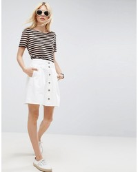 Asos Denim Button Through Skater Skirt In White