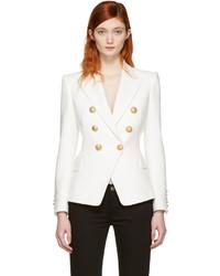 Balmain White Double Breasted Blazer