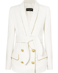 Balmain Belted Double Breasted Woven Blazer
