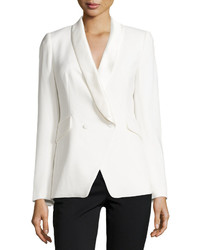 Catherine Catherine Malandrino Stephen Double Breasted Tuxedo Blazer Ivory White
