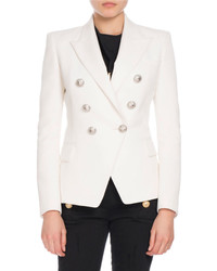 Balmain Classic Double Breasted Wool Blazer White