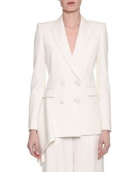 Alexander McQueen Double Breasted Draped Side Tuxedo Blazer White