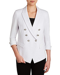 Peter Nygard Double Breasted Luxe Ponte Faux Leather Trim Blazer