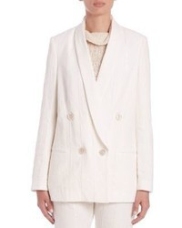 Brunello Cucinelli Double Breasted Paillette Pinstripe Blazer