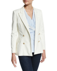 Derek Lam 10 Crosby Double Breasted Stretch Blazer Soft White