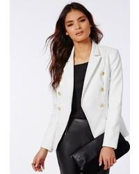 Missguided Bettie Faux Leather Blazer White
