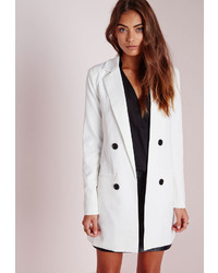 Missguided Double Breasted Blazer White