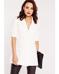 Missguided Double Breasted Tailored Blazer Suit White