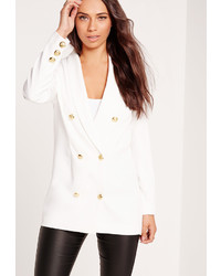 Missguided Straight Button Detail Double Breasted Blazer White