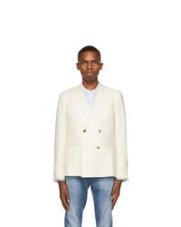 Z Zegna Off White Linen And Wool Blazer
