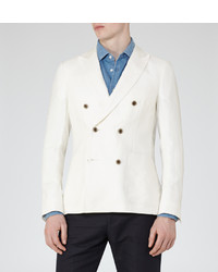 Reiss Pope B Linen Double Breasted Blazer