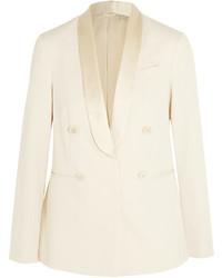 Brunello Cucinelli Satin Trimmed Cotton Twill Blazer Off White