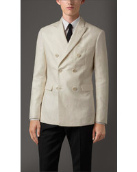 Burberry Slim Fit Double Breasted Linen Jacket
