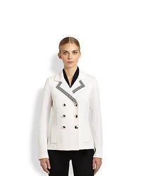 St. John Double Breasted Milano Knit Coat Bright White