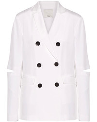Tibi Cutout Silk Crepe De Chine Blazer White