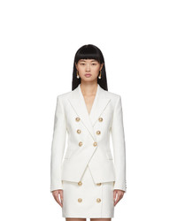 Balmain White 6 Button Blazer