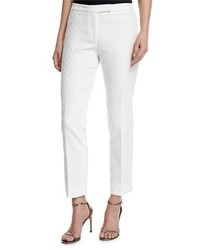 Peserico Circle Jacquard Slim Pants White