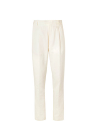 Caruso Cream Cotton Linen And Silk Blend Suit Trousers