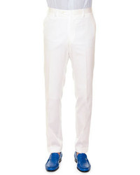 Stefano Ricci Flat Front Wool Sport Trousers White