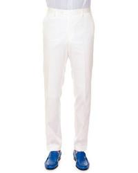 Flat front wool sport trousers white medium 425233