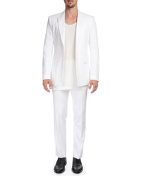 Givenchy Herringbone Cotton Flat Front Pants White