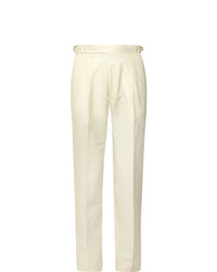 Zanella Nico Tapered Pleated Virgin Wool And Linen Blend Trousers