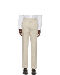 Ermenegildo Zegna Off White Pleated Trousers