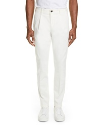 Eleventy Pleated Solid Cotton Blend Trousers