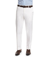 Canali Sienna Contemporary Flat Front Stretch Trousers White