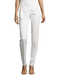 Armani Collezioni Straight Leg Twill Pants White