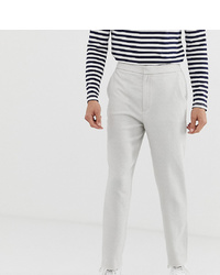 ASOS DESIGN Tall Tapered Smart Trouser With Half Elasticated Waist In Textured Off White