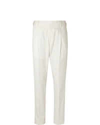 Caruso Tapered Pleated Cotton Twill Trousers